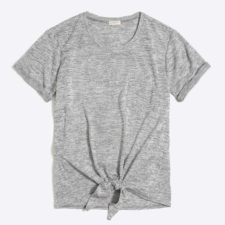 Space-dyed tie-waist pocket T-shirt