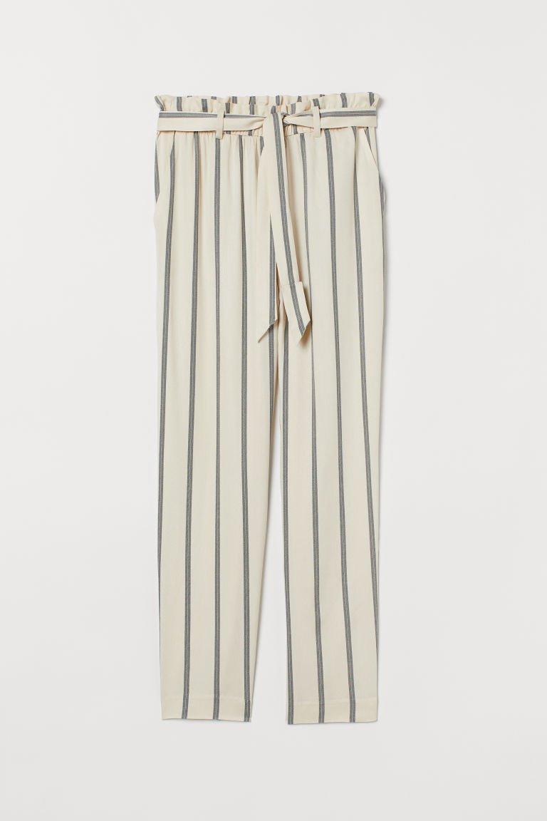 Black And Beige Living Room Decor: Paper-bag Pants - Light Beige/black Striped - Ladies