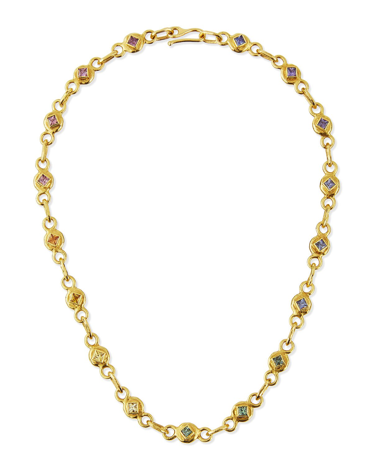 """Jean Mahie 17"""" 22K Gold Link Necklace with Multicolored Sapphires"""