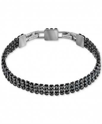 Exclusive Swarovski Silver Bracelet: Crystal Flex Silver-Tone Black 70% Off Clearance Sale
