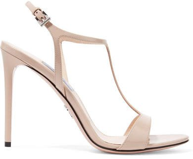 105 Glossed-leather Sandals - Beige