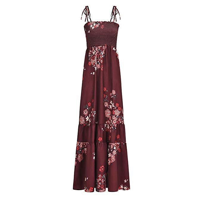 summer maxi dress red floral