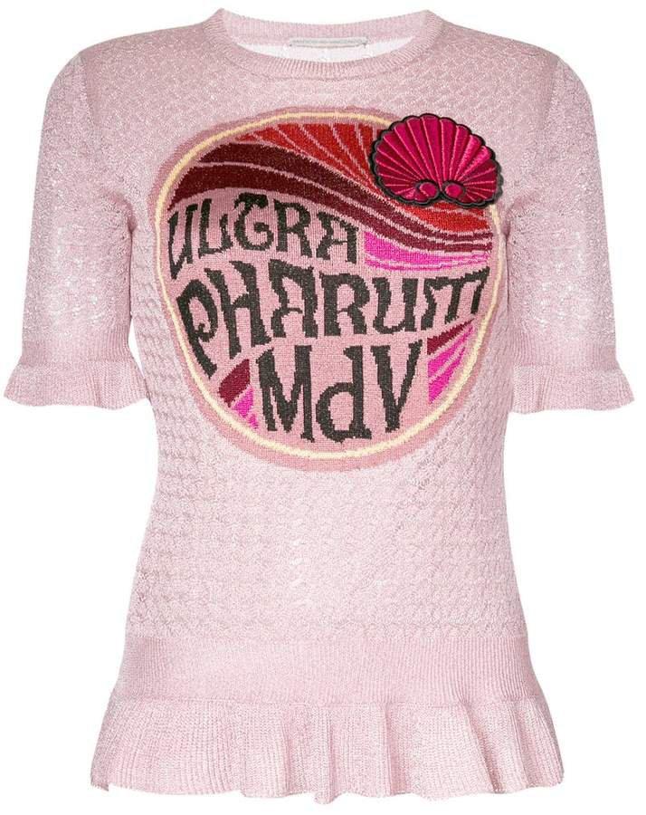 graphic peplum knitted T-shirt