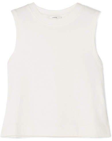 Cropped Cotton-jersey Tank - White