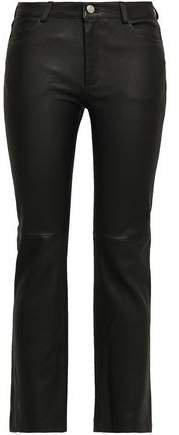 Stretch-leather Straight-leg Pants