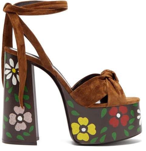 Paige Floral Platform Leather Sandals - Womens - Tan Multi