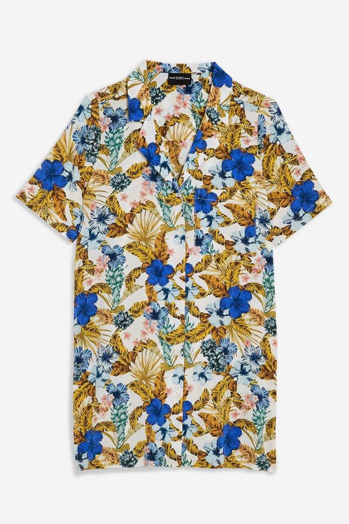 Palm Bowling Shirt Dress | Topshop