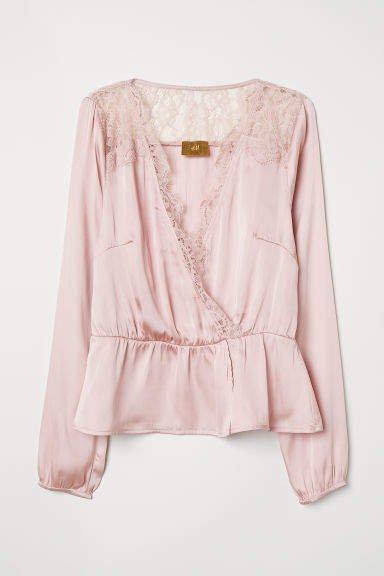V-neck Satin Blouse - Pink