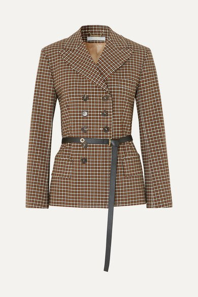 Chloé | Belted double-breasted checked woven blazer | NET-A-PORTER.COM