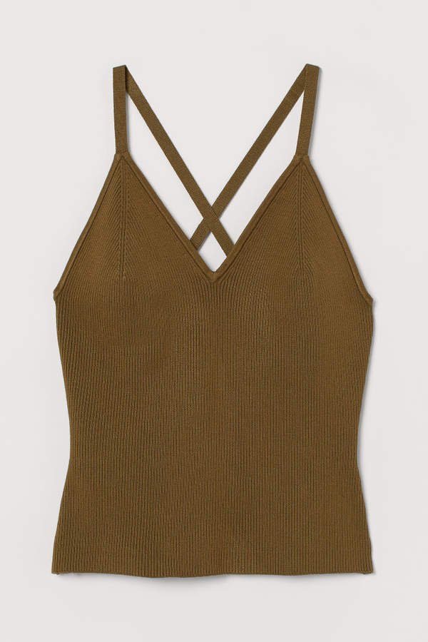 Ribbed Tank Top - Beige
