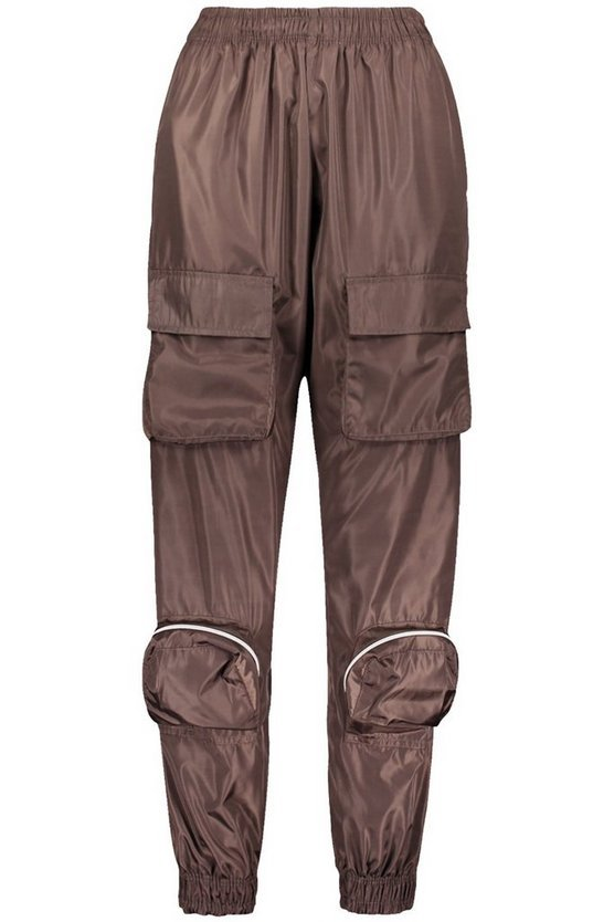 Cargo Pocket Shell Jogger | Boohoo chocolate