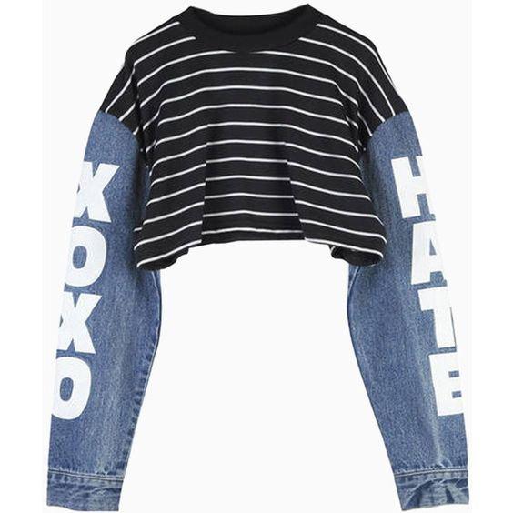 Choies Black Stripe Crop Top with Contrast Denim Sleeves