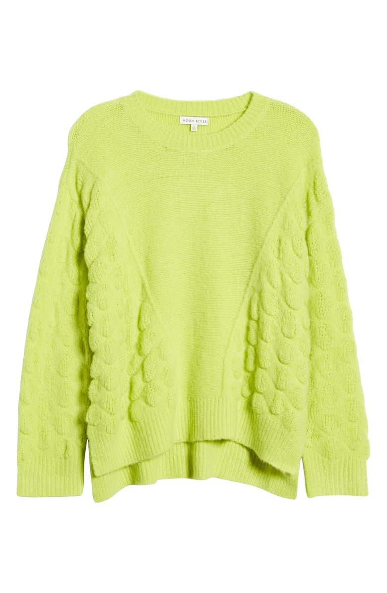 MOON RIVER Mix Stitch Crewneck Sweater