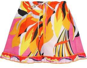 Ruffle-trimmed Printed Cotton Shorts
