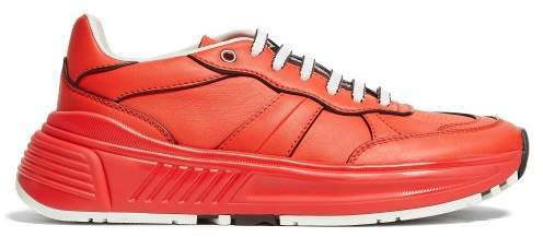 Exaggerated Sole Leather Low Top Trainers - Womens - Red