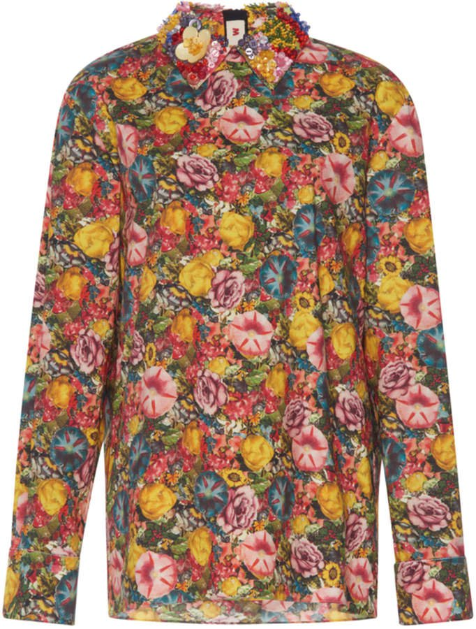 Floral-Print Cotton Blouse