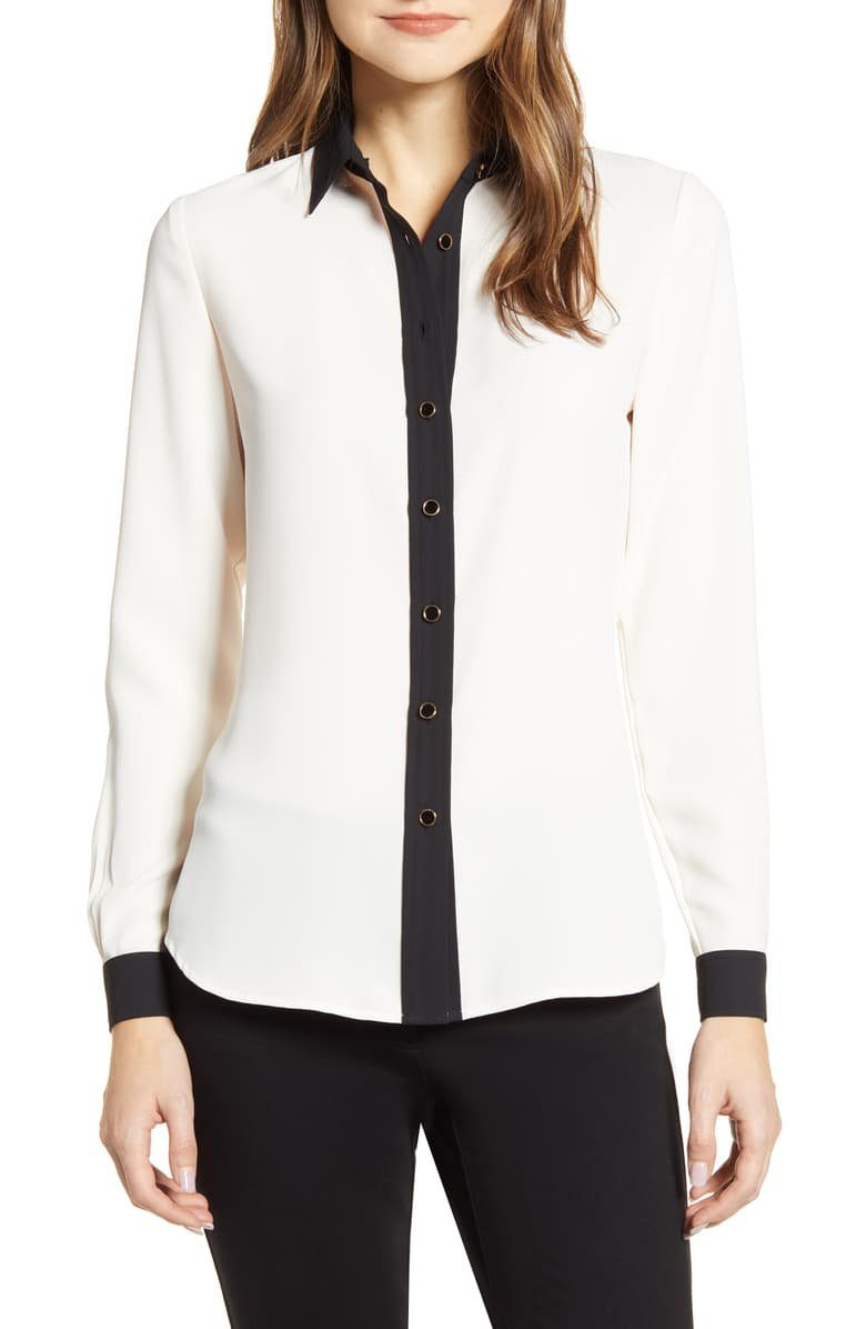 Anne Klein Contrast Detail Button-Up Blouse | Nordstrom