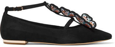 Riva Appliquéd Suede Point-toe Flats - Black