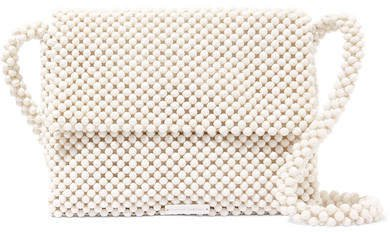 Roz Beaded Satin Shoulder Bag - White
