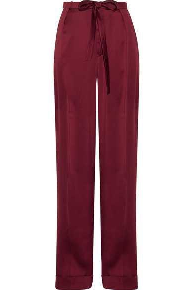 Valentino | Pleated silk-satin wide-leg pants | NET-A-PORTER.COM
