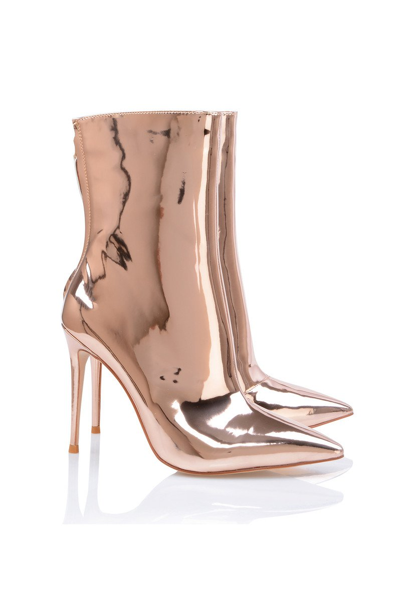 'Mercury' Rose Gold Mirror Ankle Boots