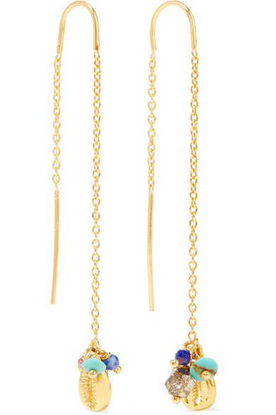 Chan Luu | Gold-plated multi-stone earrings | NET-A-PORTER.COM