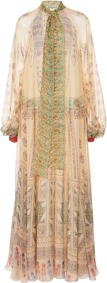 Etro Printed Silk-Chiffon Dress Size: 38