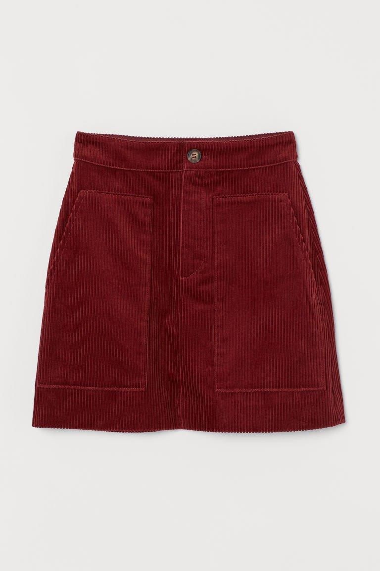 Corduroy Skirt - Rust red - Ladies | H&M CA