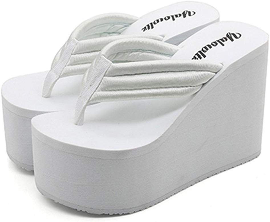 Amazon.com | IDIFU Women's Comfy Wedge Platform Thong Sandals with Heels Beach Holiday Summer Flip Flops White 7 B(M) US | Flip-Flops