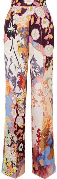 Floral-print Crepe De Chine Pants - Purple