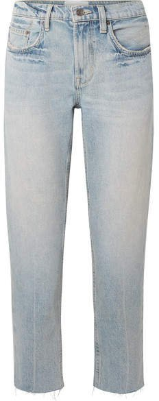 The His Cropped Distressed Boyfriend Jeans - Light denim