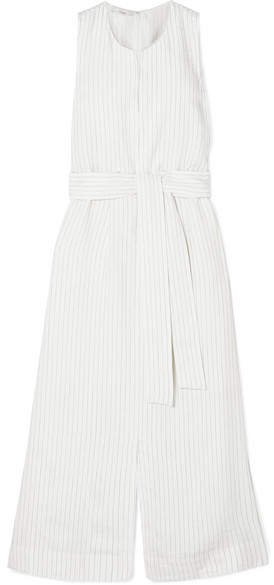 Belted Pinstriped Crepe Midi Dress - White