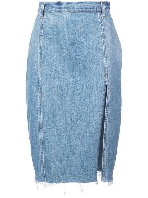 Re/Done Pencil Denim Skirt - Farfetch