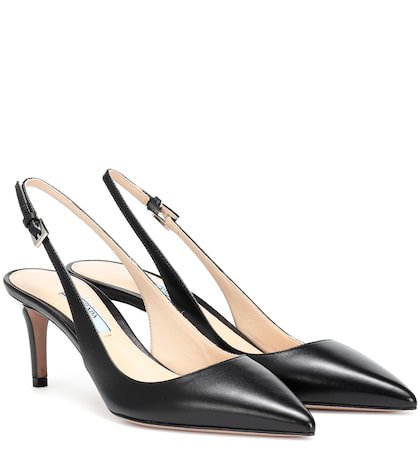 Leather slingback pumps