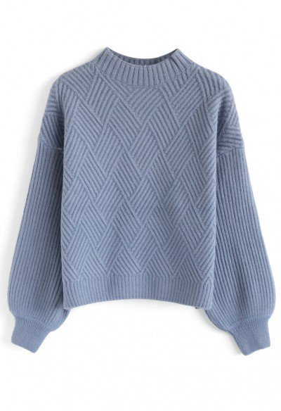 Heather Cable Knit Sweater in Dusty Blue - TOPS - Retro, Indie and Unique Fashion