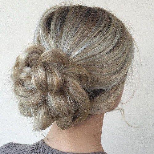 Blonde Messy Braid Bun