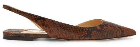 Fetto Python Effect Leather Slingback Flats - Womens - Tan Multi