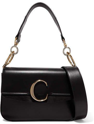 C Small Suede-trimmed Leather Shoulder Bag - Black