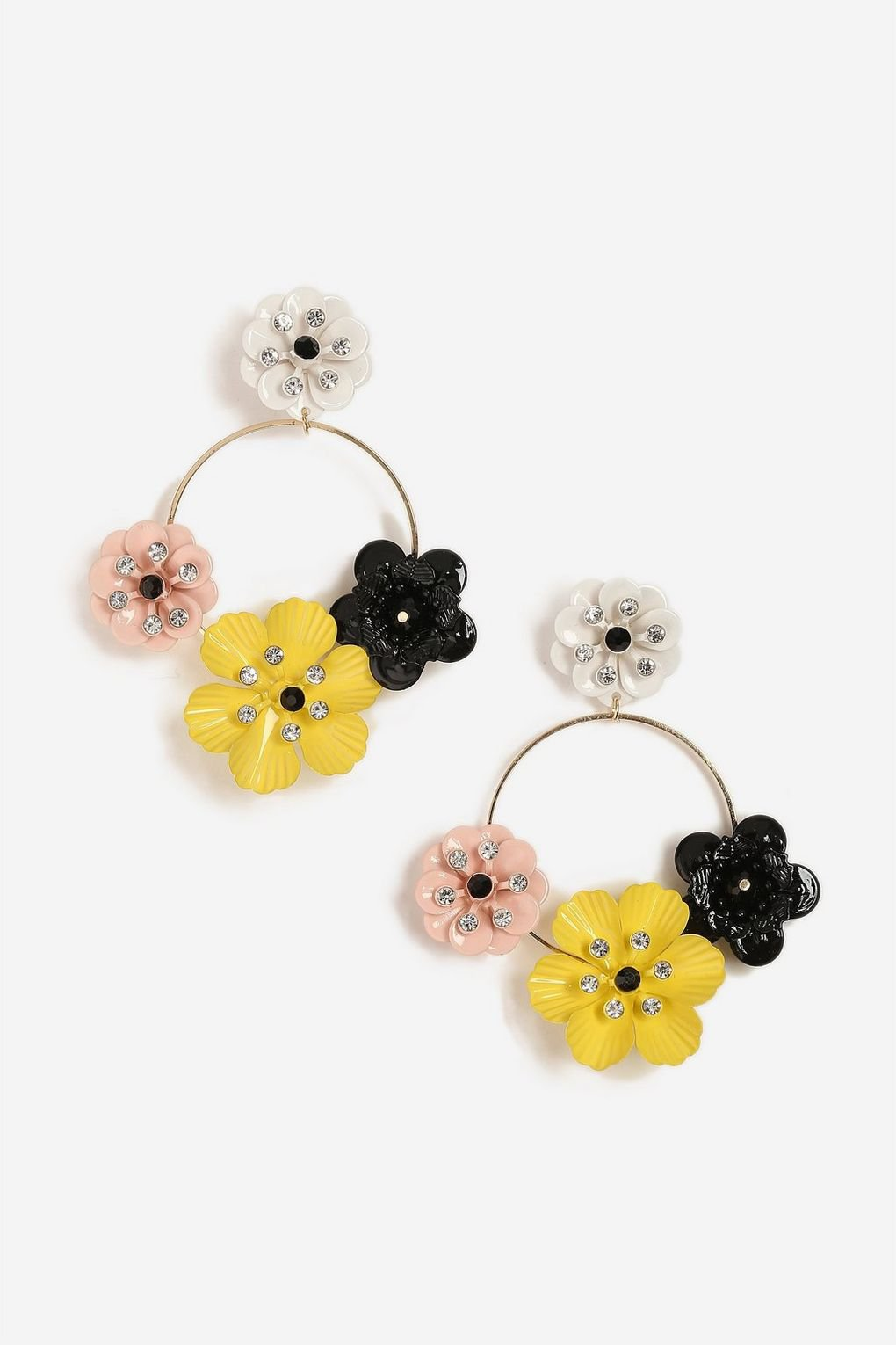 **Flower Drop Hoop Earrings - Jewelry - Bags & Accessories - Topshop USA