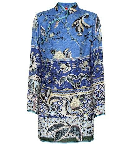 Menezio floral silk-blend dress
