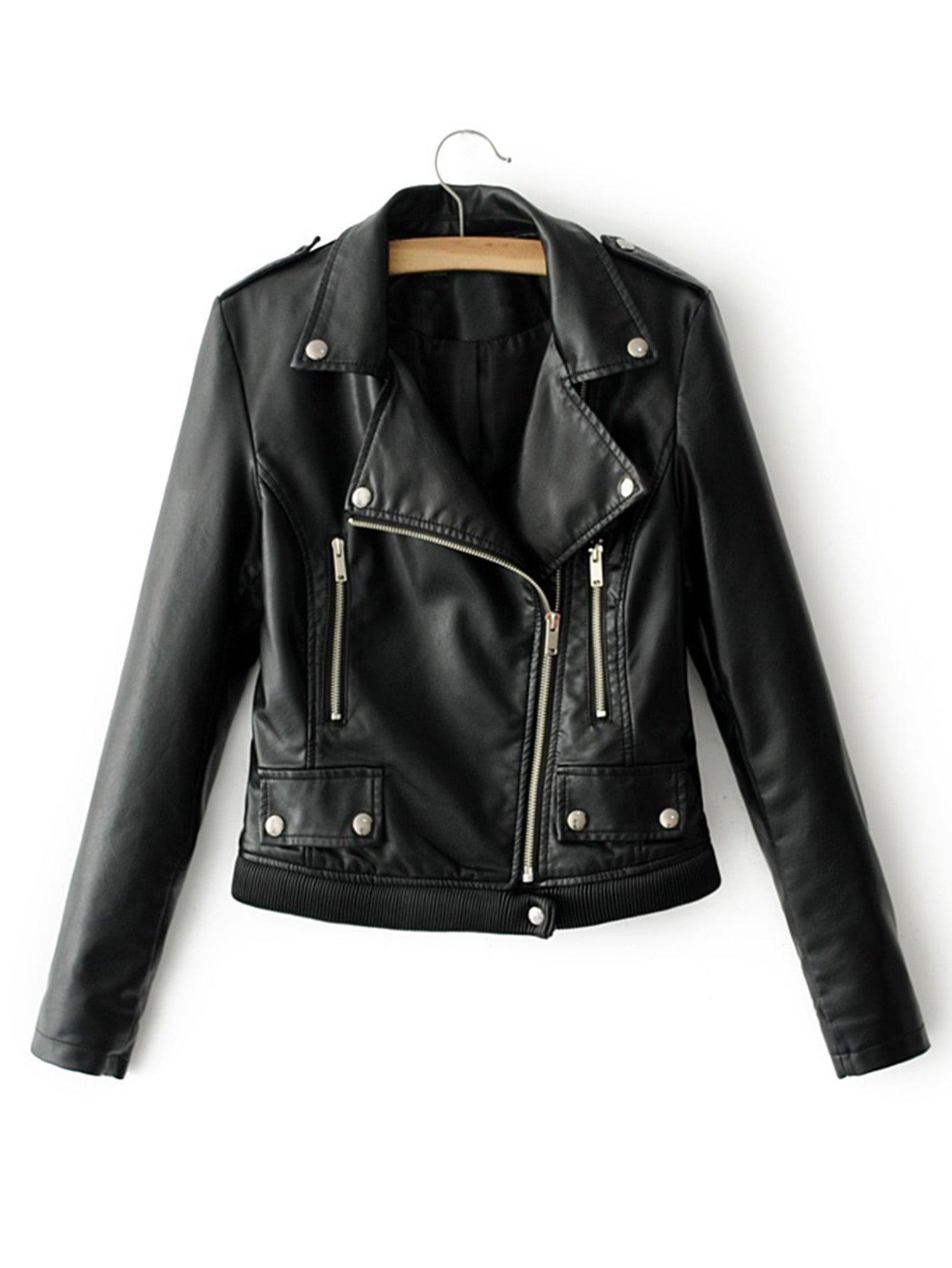 Ribbed Hem PU Biker Jacket