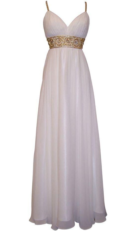 Greek Goddess Chiffon Prom Dress, Starburst Beaded Full Length Gown, Prom Dress Junior Plus Size on Luulla