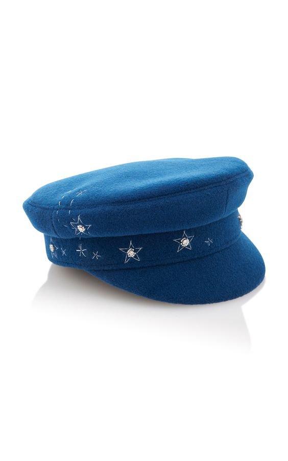 Embroidered Wool-Felt Baker Boy Hat