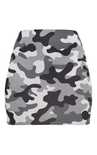 Grey Camo Print Mini Skirt   PrettyLittleThing USA
