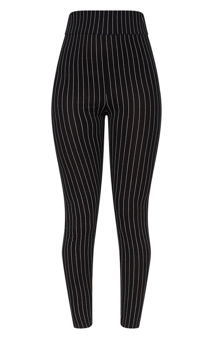 Grey Pinstripe High Waisted Legging | PrettyLittleThing USA