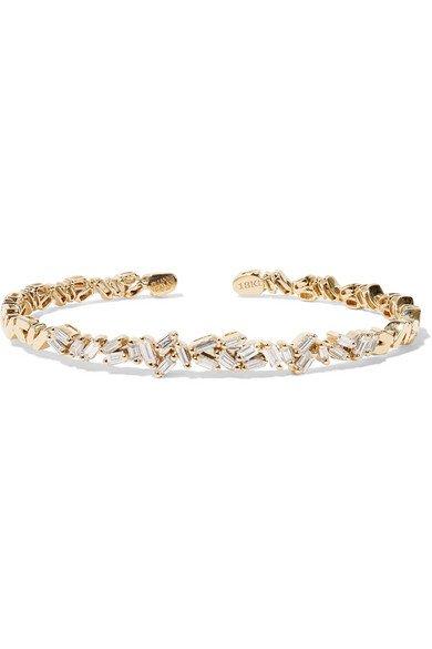 Suzanne Kalan | 18-karat gold diamond cuff | NET-A-PORTER.COM