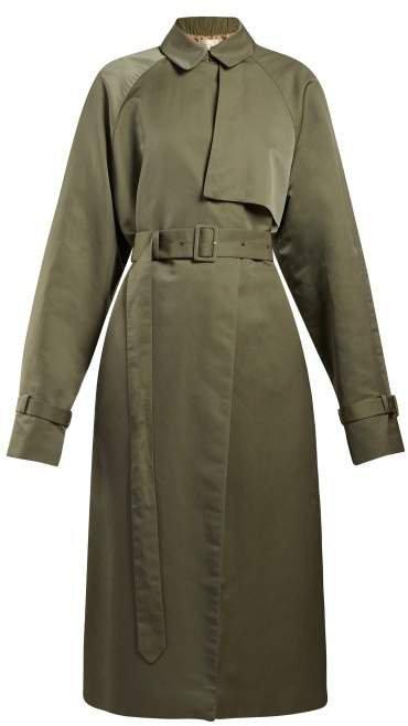 Neita Silk Trench Coat - Womens - Dark Green