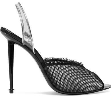 Metallic Leather, Pvc And Mesh Slingback Pumps - Black