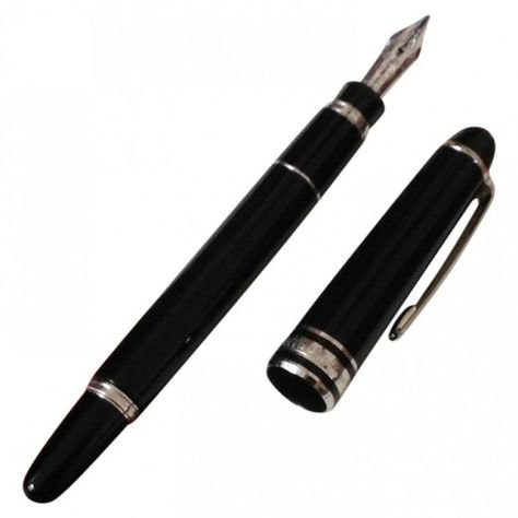 black fountain pen silver png filler