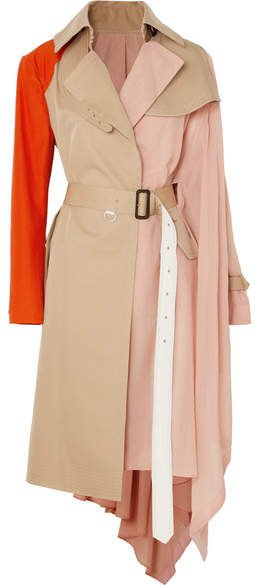Draped Pleated Cotton-blend Gabardine, Poplin, Georgette And Satin Trench Coat - Beige